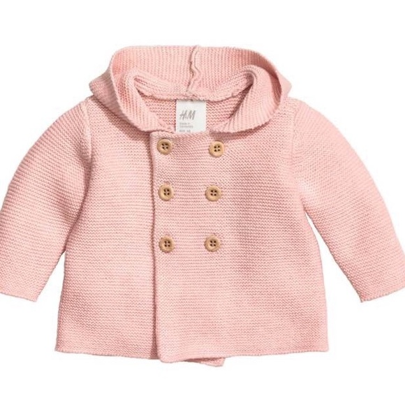 h&m jackets & coats | h m baby girl pink sweater coat size 1 2 m